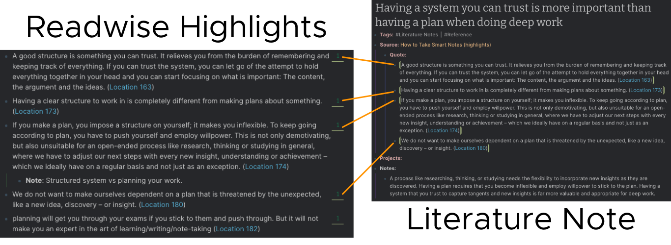 Block References for Source Highlights in a Literature Note
